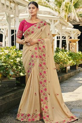 Cream Satin Georgette Traditional Saree With Heavy Blouse
