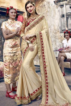 Cream Satin Silk Designer Saree