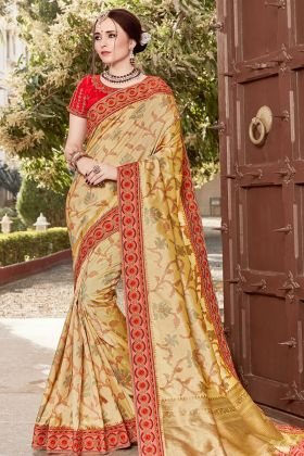 Cream Silk Fancy Wedding Saree