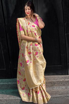 Cream Traditional Kanjivaram Saree For Wedding