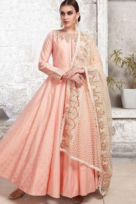 Creamy Pink Zurich Satin Long Gown