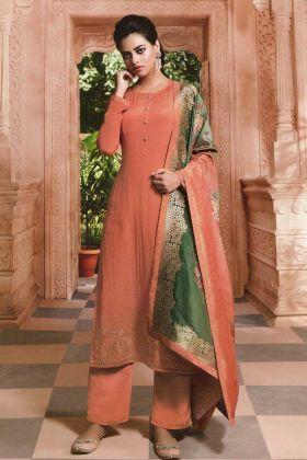Crepe Salwar Suit With Jacquard Silk Dupatta
