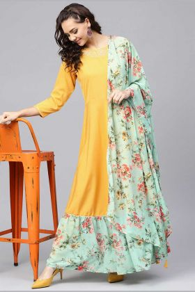 Crepe Designer Readymade Long Suit In Mustard Yellow Color