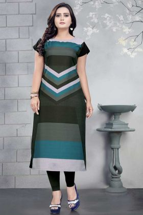 Crepe Fancy Kurti Printed Work In Multi Color