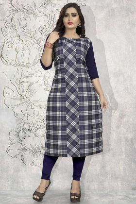 Crepe Fancy Kurti Printed Work In Navy Blue Color