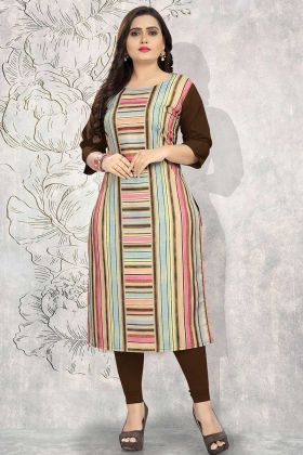 Crepe Kurti Multi Color With Printed Work