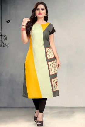 Crepe Kurti Printed Work In Multi Color
