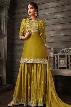 Crepe Olive Green Heavy Designer Sharara Suit