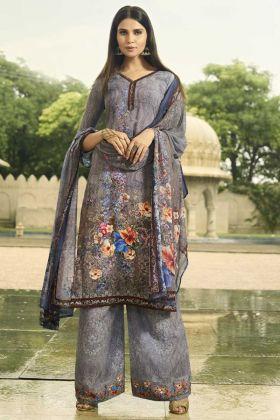 Crepe Pakistani Salwar Kameez Grey Color With Digital Print Work