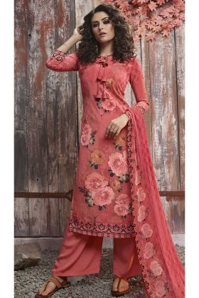 Crepe Palazzo Dress Old Rose Pink Color With Digital Printed Work