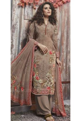 Crepe Palazzo Salwar Suit Digital Printed Work In Beige Color