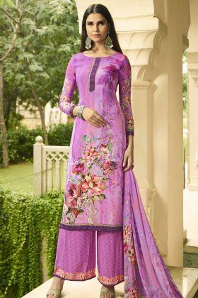 Crepe Palazzo Salwar Suit Light Purple Color With Digital Print Work