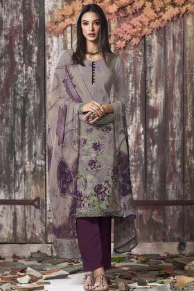 Crepe Pant Style Salwar Kameez Grey Color With Digital Print Work