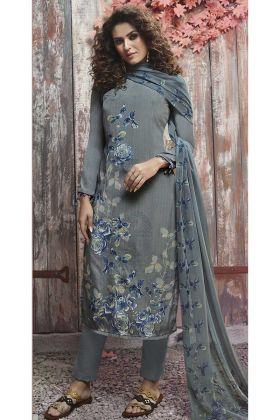 Crepe Pant Style Salwar Suit In Grey Color