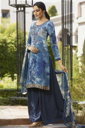 Crepe Printed Straight Suit Blue Color