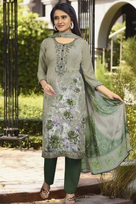 Crepe Printed Straight Suit Pastel Green Color