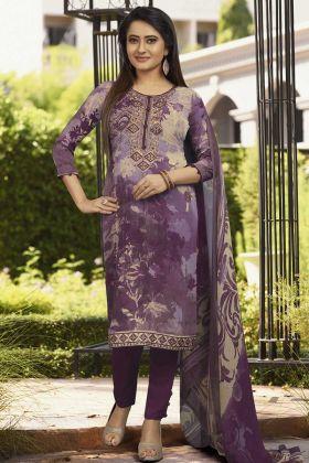 Crepe Purple Salwar Kameez With Georgette Dupatta
