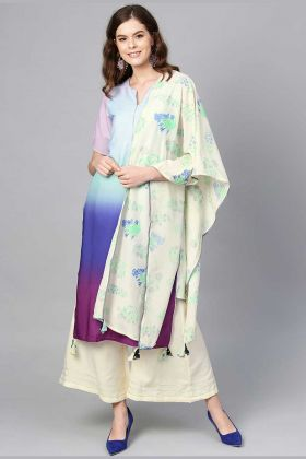 Crepe Readymade Plazzo Suit In Off-White And Multi Color