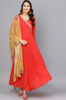 Crepe Red Color Indian Gown Dress for Women