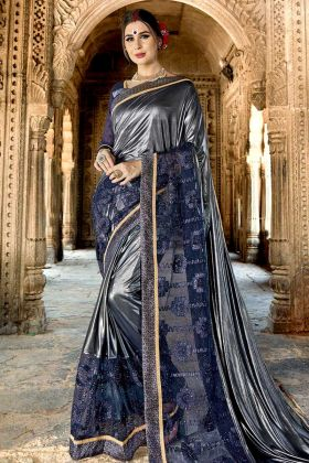 Crepe Silk Blue Party Wear Saree Online