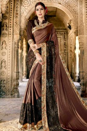 Crepe Silk Brown Party Wear Saree