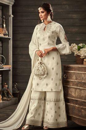 Crepe White Heavy Designer Palazzo Suit