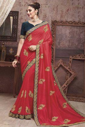 Crimson Red Soft Art Silk Embroidered Saree