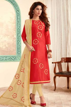 Crimson Red Cotton Slub Straight Salwar kameez