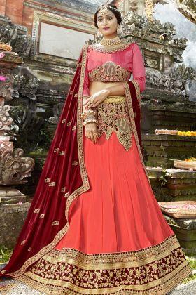 Crimson Red Georgette Lehenga Choli Online