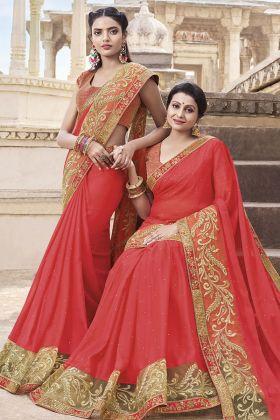 Crimson Red Georgette Wedding Saree