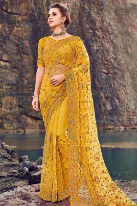 Cutdana Work Yellow Color Digital Net Wedding Saree
