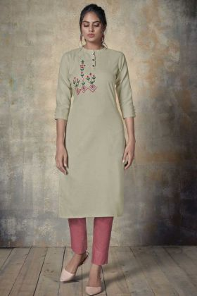 Daily Wear Cream Cotton Readymade Kurti