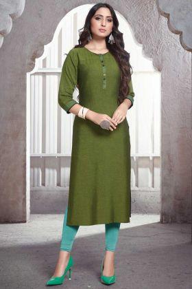 Daily Wear Green Rayon Plain Casual Kurti