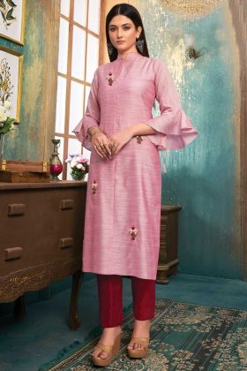Daily Wear Khanak Slub Light Pink Stiched Kurti With Bottom