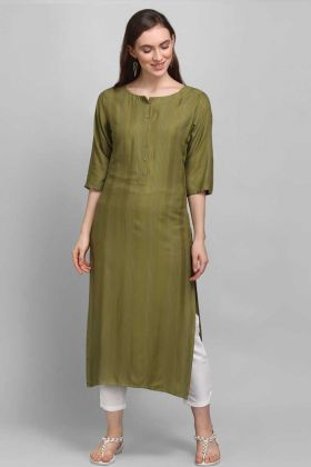 Daily Wear Olive Green Rayon Fabric Self Work Readymade Kurti