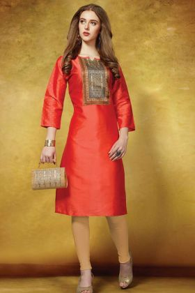 Daily Wear Orange Taffeta Art Silk Casual Kurti