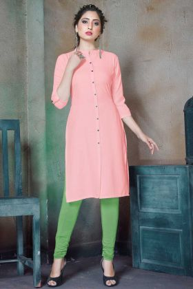 Daily Wear Readymade Cotton Pink Kurti