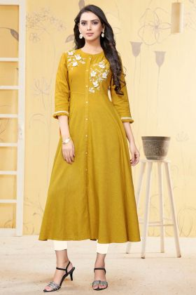Daily Wear Special Musturd Yellow Readymade Linen Kurti