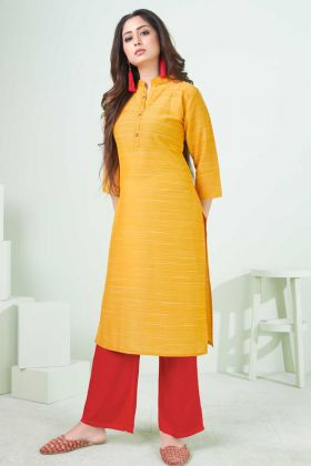 Daily Wear Special Yellow Cotton Printed Kurti