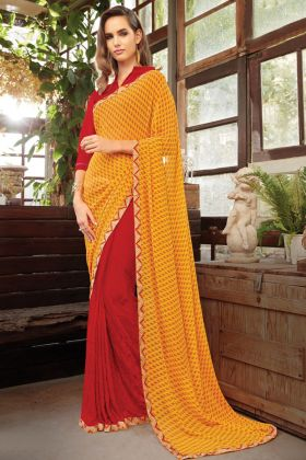 Daily Wear Yellow And Red Color Georgette Printed Saree