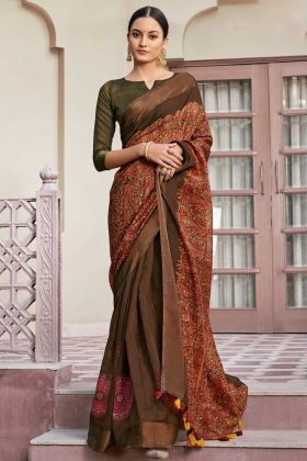 Daily Wear Brown Color Designer Printed Cotton Saree
