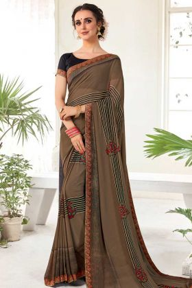 Daily Wear Georgette Casual Saree Brown Color