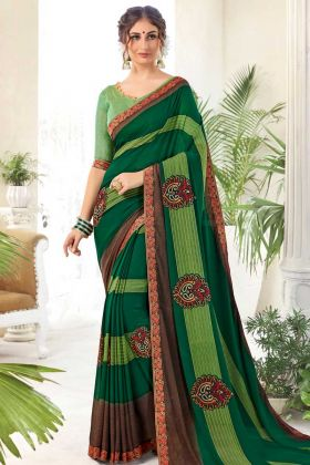Daily Wear Georgette Casual Saree Green Color