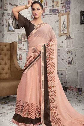 Daily Wear Light Peach Printed Saree With Brown Blouse