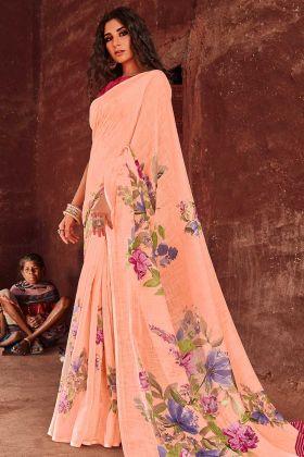 Daily Wear Linen Printed Peach Saree