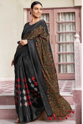 Daily Wear Saree Cotton Fabric In Black Color