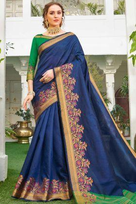 Dark Blue Color Festive Wear Weaving Handloom Silk Saree