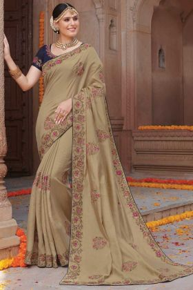 Dark Cream Tussar Art Silk Traditional Saree For Women