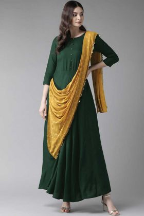 Dark Green And Musturd Yellow Rayon Fabric Suit