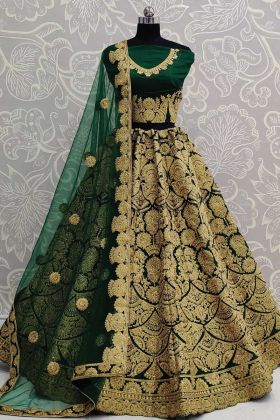 Dark Green Art Silk Heavy Bridal Wear Lehenga Choli Design